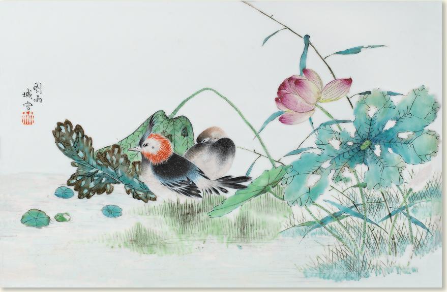 粉彩花鸟纹瓷板