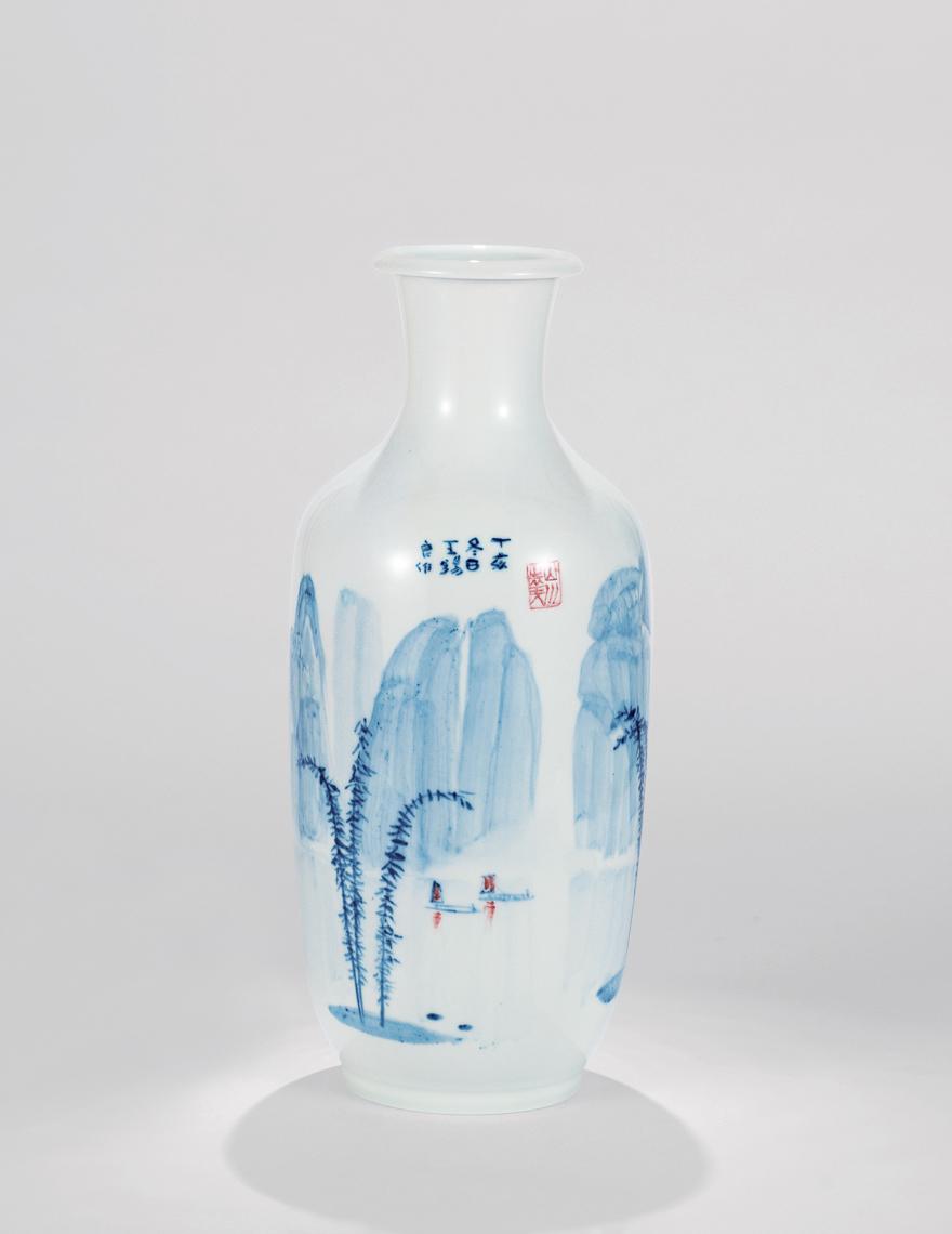 青花「桂林山水」卷口瓶
