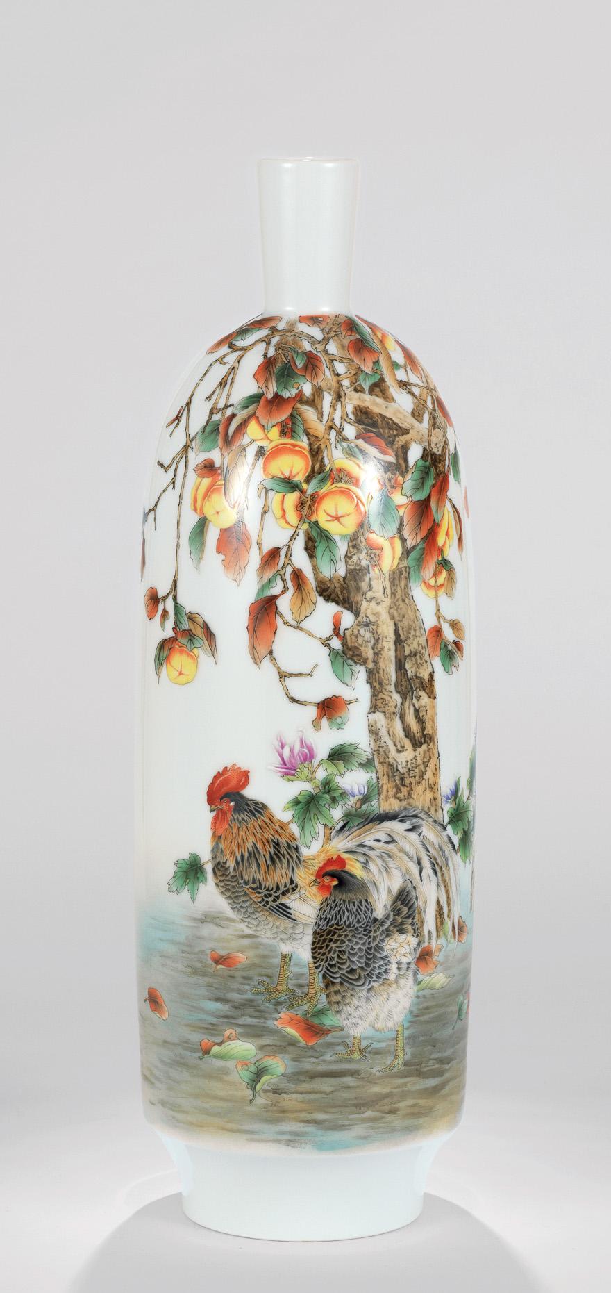 粉彩「百事大吉」瓷瓶