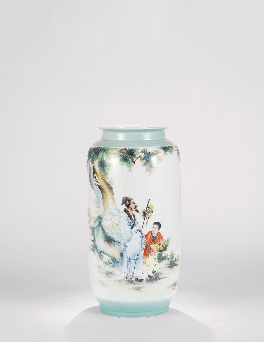 粉彩「渊明爱菊」瓷瓶