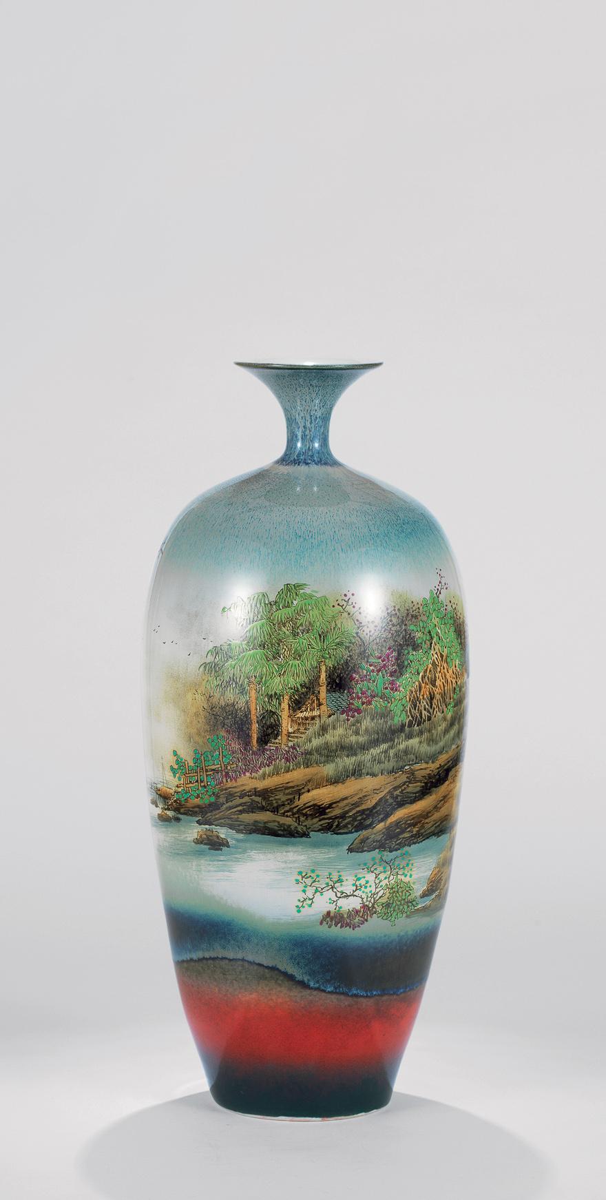 粉彩「村掩幽居静」瓷瓶