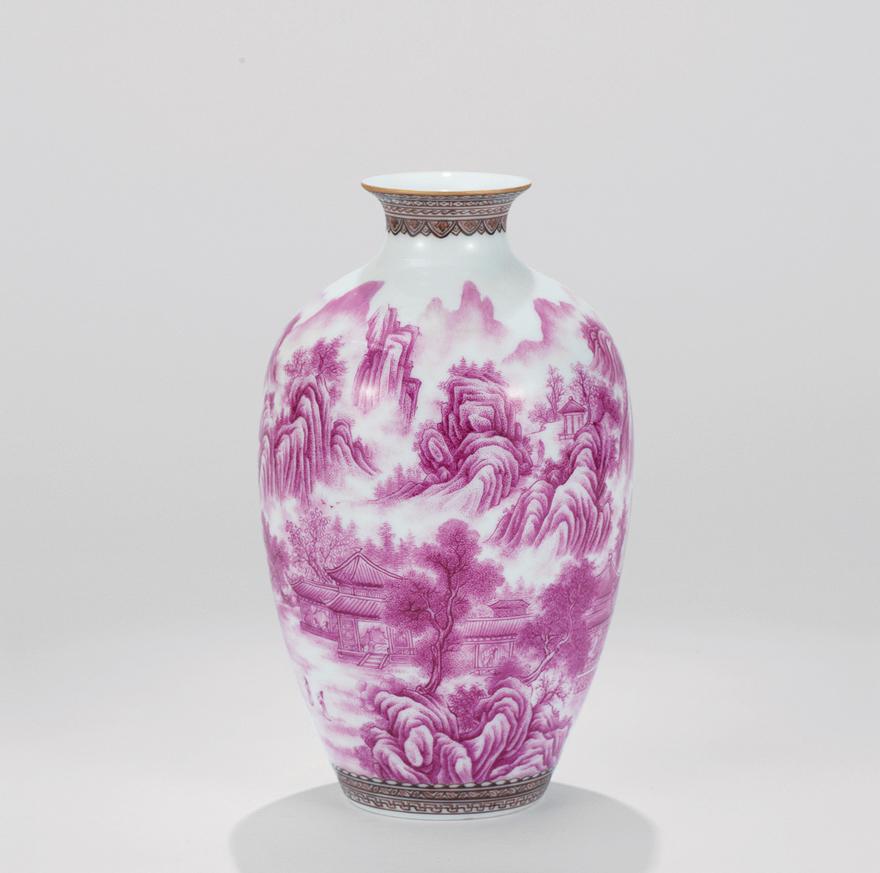 玛瑙红「溪山访友」瓷瓶