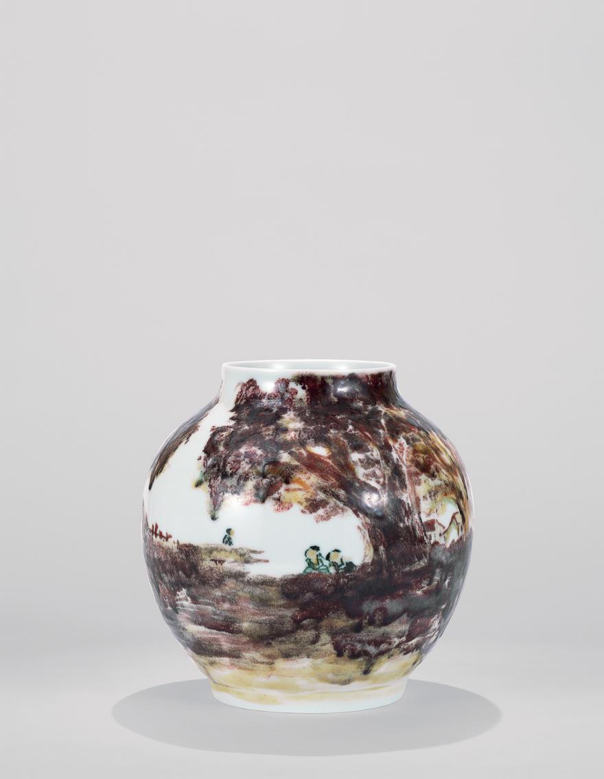 高温色釉「家乡美」瓷瓶