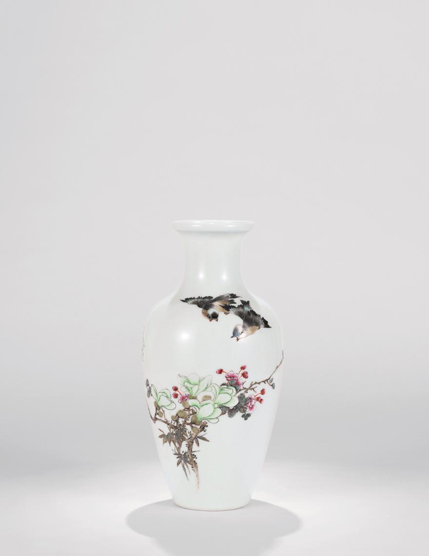 粉彩大吉图瓷瓶