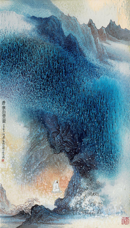高温色釉「达摩面壁」瓷板