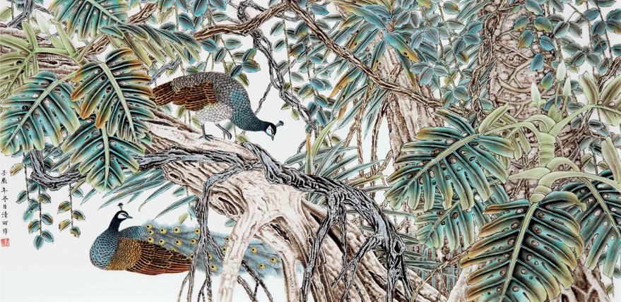 王清丽 「密林深处」瓷板